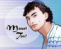 Vectorillustratie - een portret van de mooie Joodse jeugd royalty-vrije illustratie
