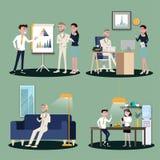 Vectorillustratie in een vlakke stijl van de arbeidersvrouwen, mannen en werkgever van het bedrijfsbureauteam in eenvormig in ver stock illustratie