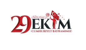 Vectorillustratie 29 ekim Cumhuriyet Bayrami Stock Afbeeldingen