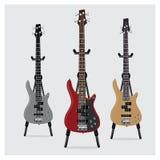 Vectorillustratie Elektrisch Bass Guitar dat met Tribune wordt geplaatst Stock Fotografie