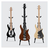 Vectorillustratie Elektrisch Bass Guitar dat met Tribune wordt geplaatst Royalty-vrije Stock Afbeelding