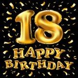 Vectorillustratie gelukkige verjaardag, gouden textuur luxueus ontwerp, ter gelegenheid van 18 verjaardag, ontwerpelement voor on Royalty-vrije Stock Afbeeldingen