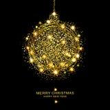 Vectorillustratie: gouden Kerstmisbal van fonkelingen en sterren vector illustratie