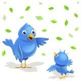 Vectorillustratie: grappige vogelsfamilie Royalty-vrije Stock Afbeeldingen
