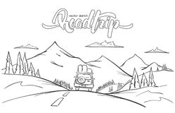 Vectorillustratie: Hand getrokken bergenlandschap met rittenauto en met de hand geschreven het van letters voorzien wegreis royalty-vrije illustratie