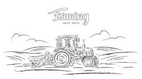 Vectorillustratie: Hand getrokken schets met tractor op gebied royalty-vrije illustratie