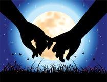 Vectorillustratie, hand in hand van liefde Royalty-vrije Stock Foto