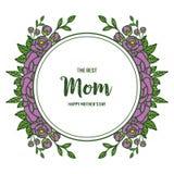 Vectorillustratie i houdt van u mamma want abstracte purper bloemkader toenam stock illustratie