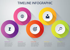 Vectorillustratie infographic vijf opties Stock Foto's