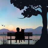 Vectorillustratie, Kinderen die op de zonsondergang letten onder de boom Stock Fotografie