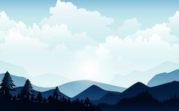 Vectorillustratie, Landschapsmening met de hemel, wolken, bergpieken, en bos voor de websiteachtergrond stock illustratie