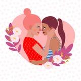 Vectorillustratie lesbisch paar De vrouwenlesbienne van het beeldverhaalkarakter stock afbeeldingen