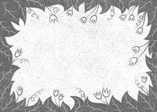 Vectorillustratie met bladeren en bloemenkader Stock Foto