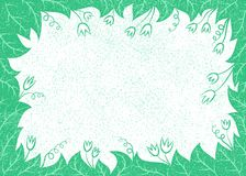 Vectorillustratie met bladeren en bloemenkader voor groetkaarten, aanplakbiljetten, Royalty-vrije Stock Afbeelding