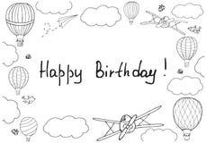 Vectorillustratie, met de hand geschreven woorden` Gelukkige Verjaardag ` royalty-vrije illustratie