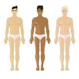Vectorillustratie met de jonge mens drie Stock Afbeelding