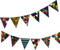 Vectorillustratie met decoratieve feestvlaggen voor partijen en vakantie stock afbeeldingen