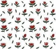 Vectorillustratie met een gazon van rode tulpen op een witte achtergrond Royalty-vrije Stock Afbeeldingen
