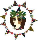 Vectorillustratie met een hond in Kerstmisdecoratie Stock Afbeelding