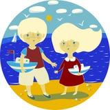 Vectorillustratie met een klein jongen en een meisje op het strand royalty-vrije illustratie