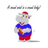 Vectorillustratie met een leuke hippo als rugbyspeler die een bal houden Een correcte mening in het correcte lichaam van letters  stock illustratie