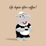 Vectorillustratie met een leuke hippokelner die een kop van koffie houden Het leven begint na koffie het van letters voorzien stock illustratie