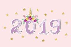 Vectorillustratie met 2019 en Unicorn Tiara als Gelukkige Nieuwjaarprentbriefkaar stock illustratie
