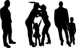 Vectorillustratie met familiesilhouetten. Royalty-vrije Stock Afbeelding