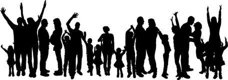 Vectorillustratie met familiesilhouetten. Stock Foto's