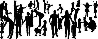 vectorillustratie met familiesilhouetten Stock Afbeelding