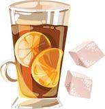 Vectorillustratie met glaskop thee met citroen binnen en twee suikerkubussen die op wit worden geïsoleerd royalty-vrije stock foto