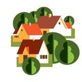 Vectorillustratie met groep plattelandshuisjes Stock Afbeelding