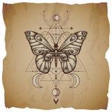 Vectorillustratie met hand getrokken vlinder en Heilig geometrisch symbool op uitstekende document achtergrond met gescheurde ran royalty-vrije illustratie