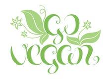 Vectorillustratie met hand het van letters voorzien & x22; Ga vegan& x22; vector illustratie