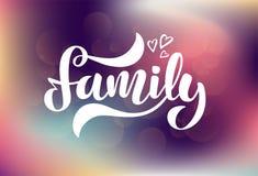 Vectorillustratie met harten en met de hand geschreven uitdrukking - Familie vector illustratie