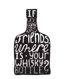 Vectorillustratie met het motiveren van inspirational citaat over liefde aan alcohol en whisky op witte getrokken hand als achter Stock Afbeeldingen