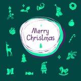 Vectorillustratie met het van letters voorzien en Kerstmispictogrammen Stock Foto