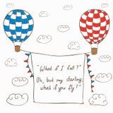 Vectorillustratie met hete lucht twee die baloons in vliegen royalty-vrije illustratie