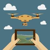 Vectorillustratie met hommel en afstandsbediening op tabletpc Royalty-vrije Stock Afbeelding