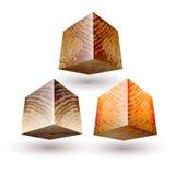 Vectorillustratie met houten textuur gestreepte blokken Royalty-vrije Stock Afbeelding