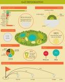 Vectorillustratie met infographic golf Royalty-vrije Stock Foto's