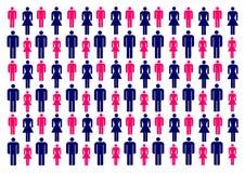Vectorillustratie met kleurrijke silhouetten van mannen en vrouwen royalty-vrije illustratie