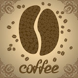 Vectorillustratie met koffiebonen Royalty-vrije Stock Foto