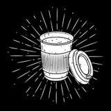 Vectorillustratie met koffiekop en uiteenlopende stralen royalty-vrije illustratie