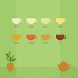 Vectorillustratie met koppen van Chinese thee Stock Afbeeldingen