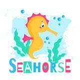 Vectorillustratie met leuke seahorse vector illustratie