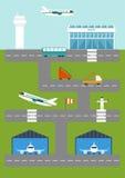 Vectorillustratie met luchthaven Stock Fotografie