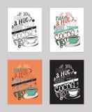 Vectorillustratie met motivationg inspirational citaat over liefde aan cacao in een kop Stock Foto