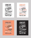 Vectorillustratie met motivationg inspirational citaat over liefde aan pastei en desserts Stock Afbeelding