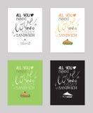 Vectorillustratie met motivationg inspirational citaat over liefde aan snacks en sandwich Royalty-vrije Stock Foto's